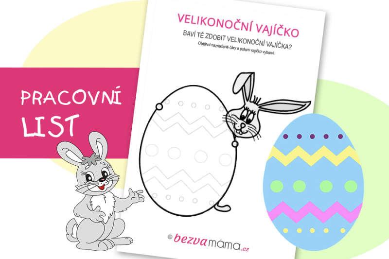 Pracovní list – zajíc a velikonoční vajíčko