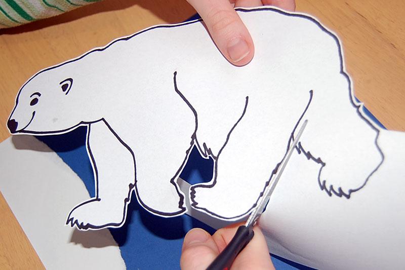 ledního medvěda vystřihneme