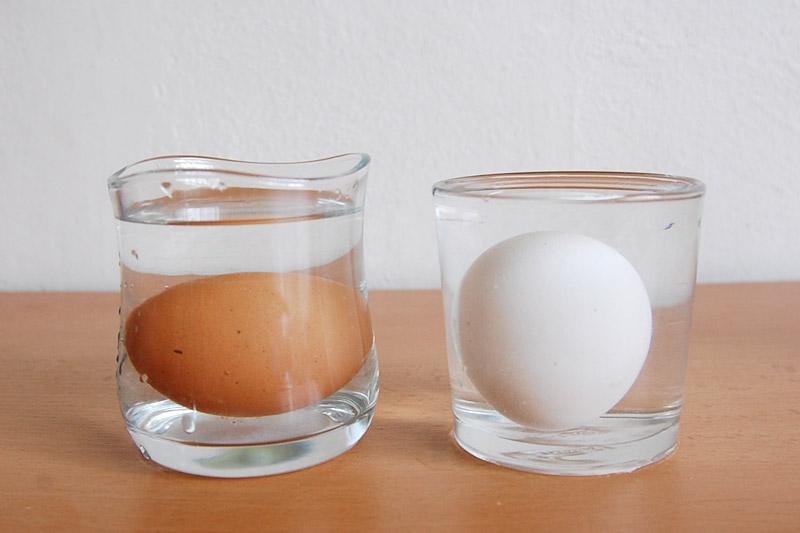 hnědé vajíčko bylo u dna, bílé bylo na špičce a mělo tendenci plavat k hladině