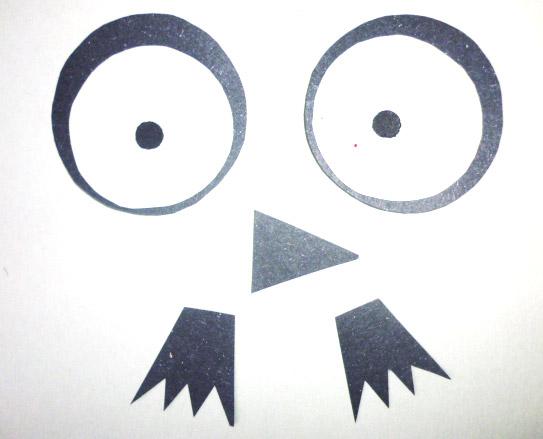 podzimní sovičky - oči, nohy, nos